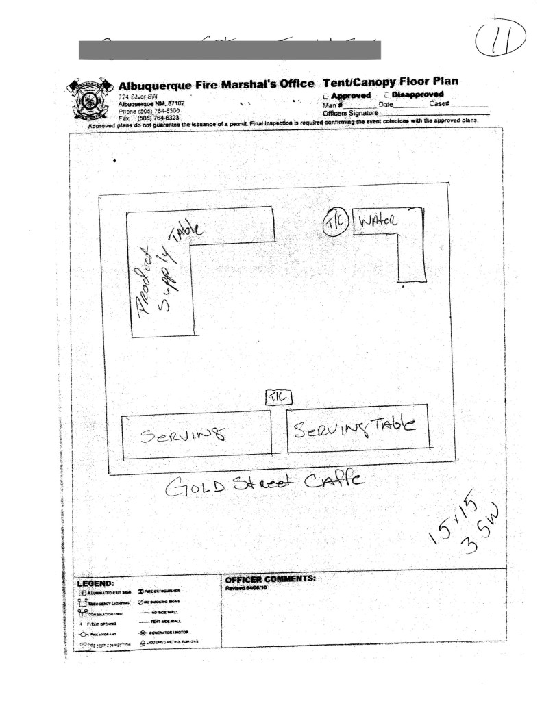 city of albuquerque fire marshal tent layout form
